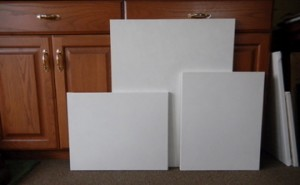 three sizes of canvas