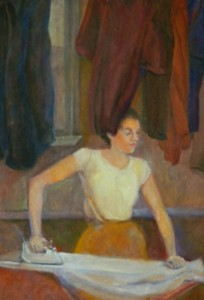 painting of woman ironing in color