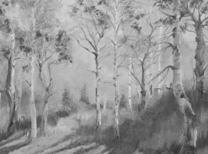 oil painting of aspen in black and white