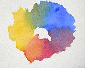 Cobalt blue, Indian yellow, Alizarin Crimson Permanent