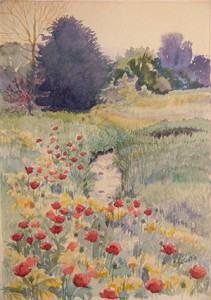 Summer Pasture with Poppies  Watercolor