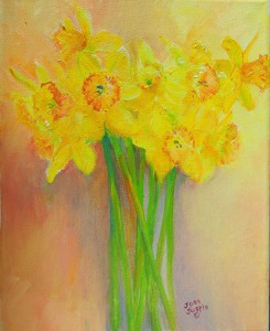 "Oil painting 8"" x 10"" Yellow daffodils"