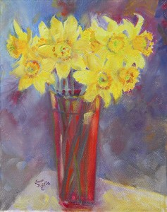 Painting of Daffodils in Red Vase