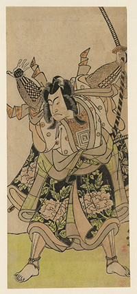 Woodcut print of Japanese Warrior