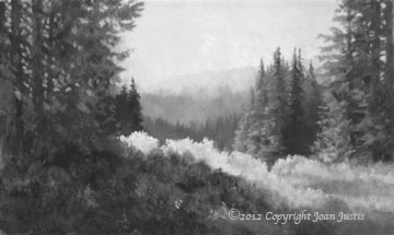 Black and white image of Mountain Sunlight watercolor painting ©2012 Joan Justis