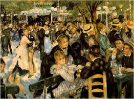 Painting of outdoor ballroom at Montmartre by Renoir