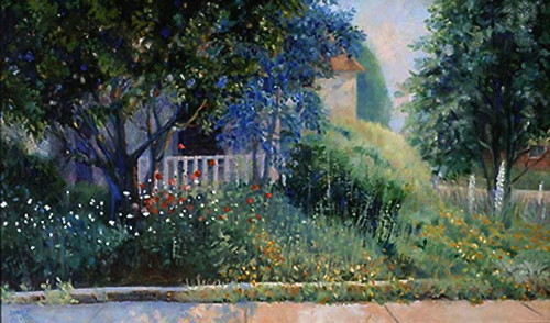 Painting of a garden on the corner of a street with the house in the background