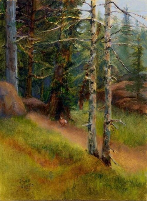 Painting of a path into the forest with a cottontail on the path
