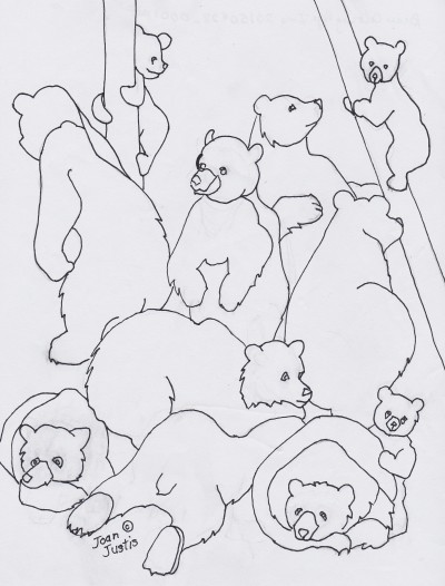 Black and White Drawing of Medley of Bears