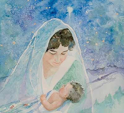 watercolor painting of Mary and Baby Jesus