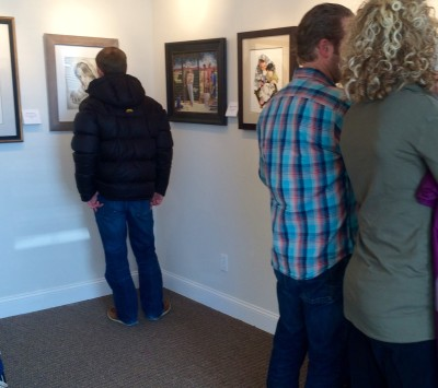 Visitors viewing the show