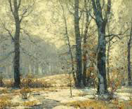 Winter Morning Mists painting with yellow snow by John F. Carlson