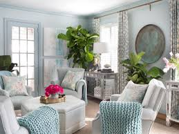 Living room decorated with blue grays creating a cool atmosphere