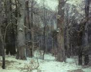 Forest Silence painting with blue snow by John F. Carlson