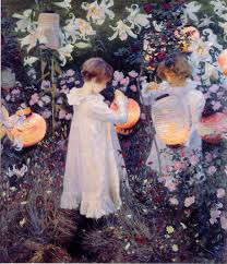 Carnation, Lily, Lily, Rose painting of two girls lighting paper lanterns by John Singer Sargent