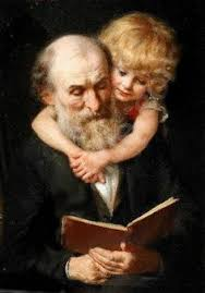 Painting of Grandfather reading to a child