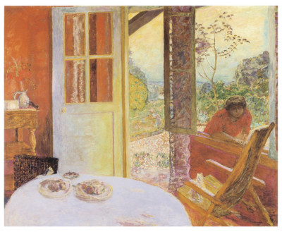 Painting of a dining room with door and window open showing the distant landscape
