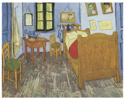 Painting of a bedroom by Vincent Van Gogh with objects outlined with a black line