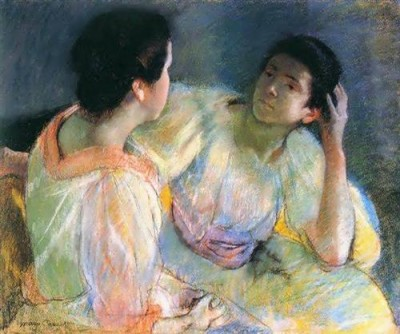 Painting of two women talking by Mary Cassatt 1896