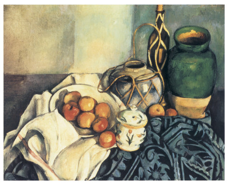 Painting of apples in a bowl on a tipped table to show the tops of jugs