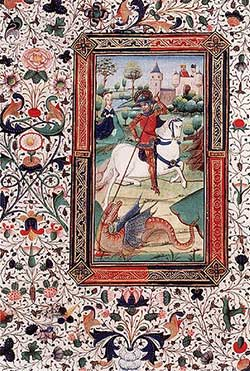 The slaying of the dragon with decorative border