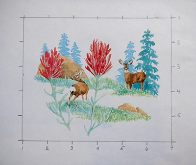 Indian Paintbrush card design by Joan Justis