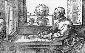 Durer's Drawing of Artist Using a Grid, 1538