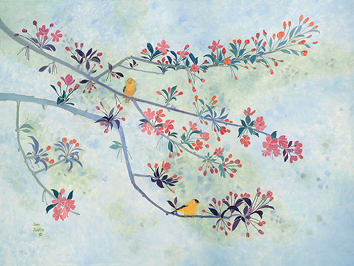 """Crabapple branches with two American Goldfinches, 30"""" x 40"""" oil painting on canvas."""