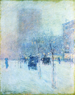 Frederick Childe Hassam painting of a winter street