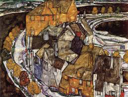Krumau Town Crescent,1915, Egon Schiele