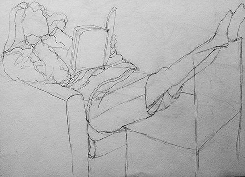 Contour Drawing of Girl Reading by Janine Justis