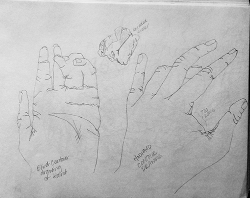 Blind Contour Drawing and Modified Contour Drawing of Hands by Janine Justis