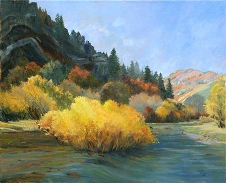 "Blacksmith Fork Canyon, Joan Justis, 24' x 30"", oil on canvas"