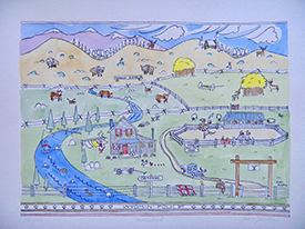 Drawing of Wyoming ranch