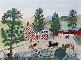 Checkered House in the year 1845, Grandma Moses (after 1963)