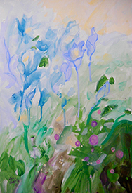 """Morning Garden, Joan Justis, 22"""" x 14"""" abstract watercolor on board"""