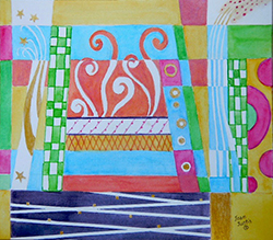 """The Bookshelf, Joan Justis, Abstract painting 10"""" x 11"""" watercolor on Arches paper"""