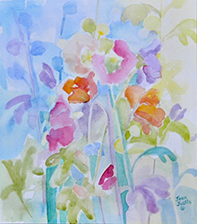 "Hollyhocks, Joan Justis, 10 1/2"" x 9 1/2"" Abstract watercolor on Arches paper"