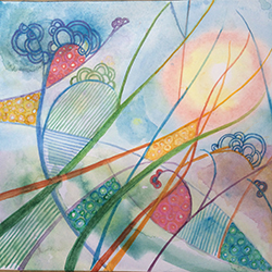 """Dancing in the Grass, Joan Justis, Abstract watercolor 10"""" x 11"""" on Arches paper"""