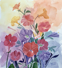 "Petunias, Joan Justis, 10 1/2"" x 9 1/2"" Abstract watercolor on Arches paper"