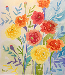 """Marigolds, Joan Justis, 11"""" x 10"""" Abstract watercolor on Arches paper"""