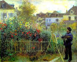Monet Painting in his Garden at Argenteuil 1873 by Pierre Auguste Renoir